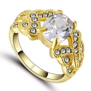 White Topaz / Yellow Gold Filled Ring Size 6